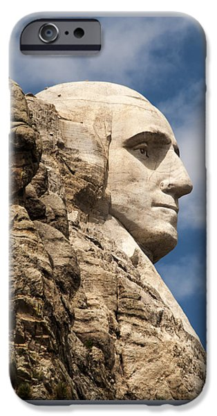 Lincoln iPhone Cases - Mount Rushmore Washington Profile iPhone Case by Jan and Burt Williams
