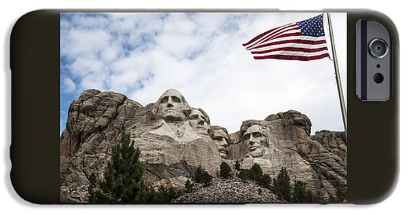 Lincoln iPhone Cases - Mount Rushmore with Flag iPhone Case by Jan and Burt Williams
