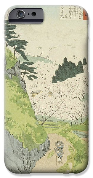 Tree Art Print iPhone Cases - Mount Yoshino   Cherry Blossoms  iPhone Case by Kobayashi Kiyochika