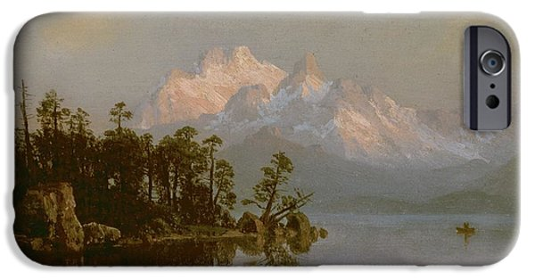 Mountain iPhone Cases - Mountain Canoeing iPhone Case by Albert Bierstadt