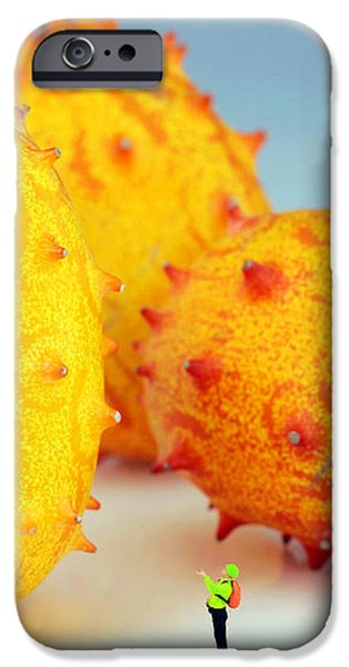 Mountain climber on mangosteens iPhone Case by Paul Ge