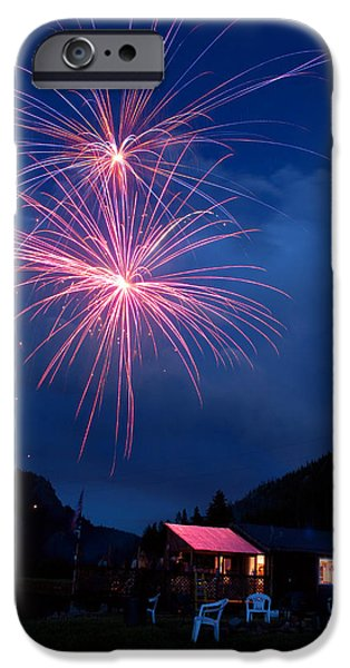 Celbration iPhone Cases - Mountain Fireworks landscape iPhone Case by James BO  Insogna