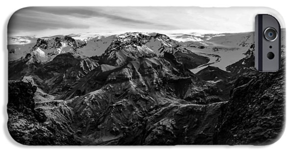Snow iPhone Cases - Mountain In Winter Black And White Vintage iPhone Case by Jumnian Barisee