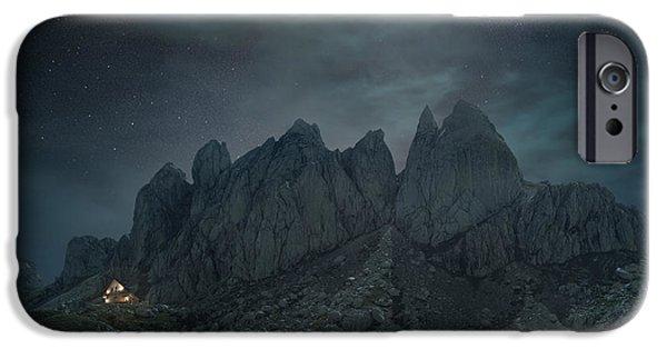 Eerie iPhone Cases - Mountain night iPhone Case by Radisa Zivkovic