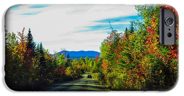 Fall iPhone Cases - Mountain Road iPhone Case by Laurie Breton