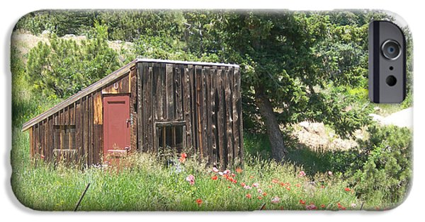 Shed iPhone Cases - Mountain Shack iPhone Case by Lorraine Baum