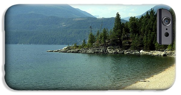 Ann Powell iPhone Cases - Mountain Shoreline iPhone Case by Ann Powell