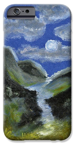 Creek Pastels iPhone Cases - Mountain Spring In The Moonlight iPhone Case by Donna Blackhall
