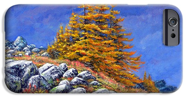 Realism iPhone Cases - Mountain Tamaracks iPhone Case by Frank Wilson