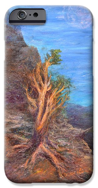 Pinion Paintings iPhone Cases - Mountain Tree with Moon iPhone Case by Walter James Artist