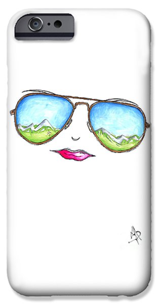 Abstract Fashion Designer Art iPhone Cases - Mountain View Aviator Sunglasses PoP Art Painting Pink Lips Aroon Melane 2015 Collection iPhone Case by Megan Duncanson
