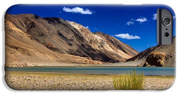 Tibetan Buddhism iPhone Cases - Mountains and green vegetation Chagor tso - Lake Leh Ladakh Jammu Kashmir India iPhone Case by Rudra Narayan  Mitra