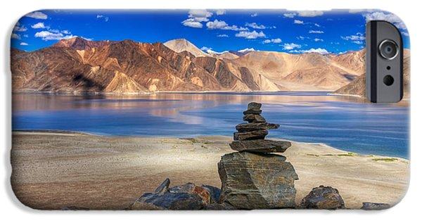 Tibetan Buddhism iPhone Cases - Mountains and rocks Pangong tso Lake Leh Ladakh Jammu Kashmir India iPhone Case by Rudra Narayan  Mitra