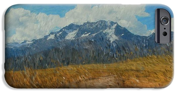 Abstract Digital Photographs iPhone Cases - Mountains in Puru iPhone Case by David Lane
