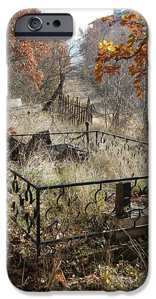 Cemetary iPhone Cases - Mourning the Past iPhone Case by CR Leyland