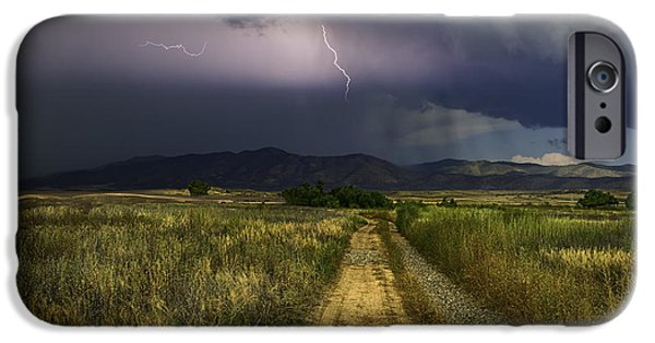 Prescott iPhone Cases - Moutain Lightning iPhone Case by Janet Ballard