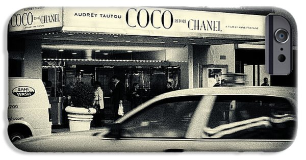 Filmnoir iPhone Cases - Movie Theatre Paris in New York City iPhone Case by Sabine Jacobs