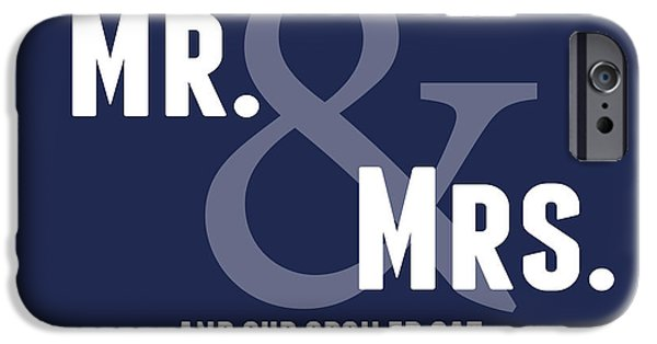 Wedding iPhone Cases - Mr and Mrs and Cat iPhone Case by Linda Woods
