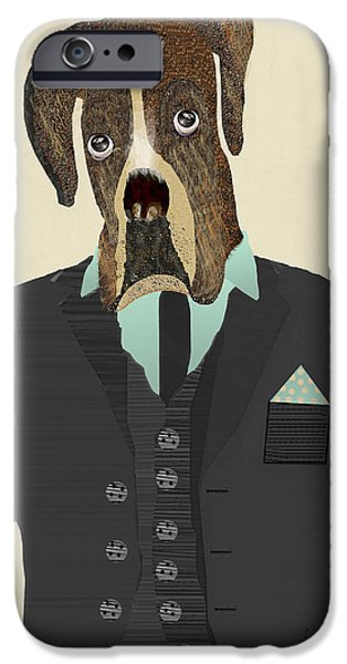 Boxer Digital Art iPhone Cases - Mr Boxer iPhone Case by Bri Buckley