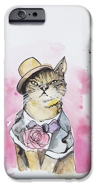 Cat iPhone Cases - Mr Cat in costume iPhone Case by Venie Tee