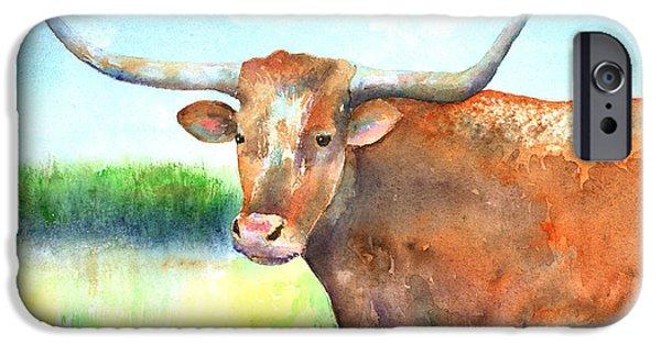 Steer Paintings iPhone Cases - Mr. Longhorn iPhone Case by Arline Wagner