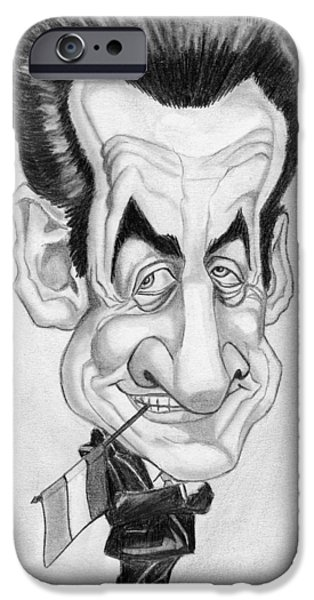 Mr. President iPhone Cases - Mr Nicolas Sarkozi Caricatur Portrait iPhone Case by Alban Dizdari