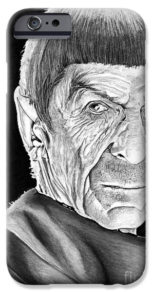 Enterprise Drawings iPhone Cases - Mr Spock iPhone Case by Bill Richards