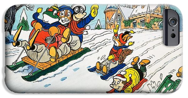 Tobogganing iPhone Cases - Mr Toad tobogganing iPhone Case by English School