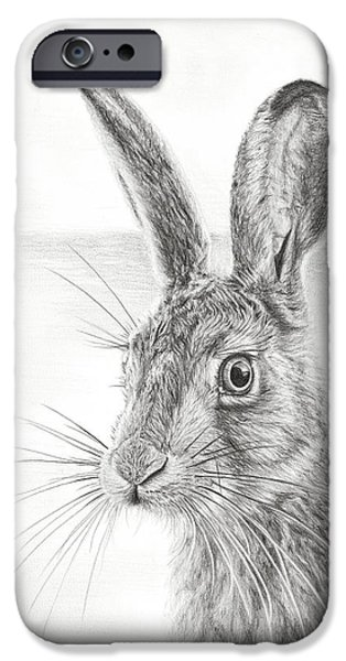 March Hare iPhone Cases - Mr Whisker iPhone Case by Frances Vincent