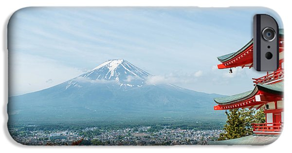 Buddhist iPhone Cases - Mt. Fuji with fall colors in Japan iPhone Case by Prasit  Rodphan
