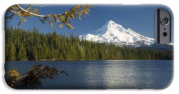 Snowy Day iPhone Cases - Mt Hood from Lost Lake iPhone Case by Brian Jannsen