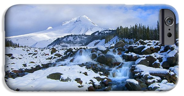 White River iPhone Cases - Mt. Hood Morning iPhone Case by Mike  Dawson