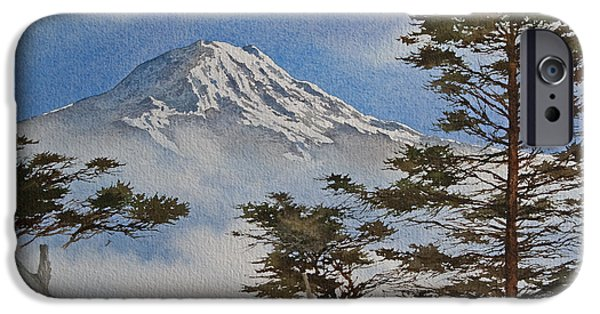 Landscape Greeting Cards iPhone Cases - Mt. Rainier Landscape iPhone Case by James Williamson