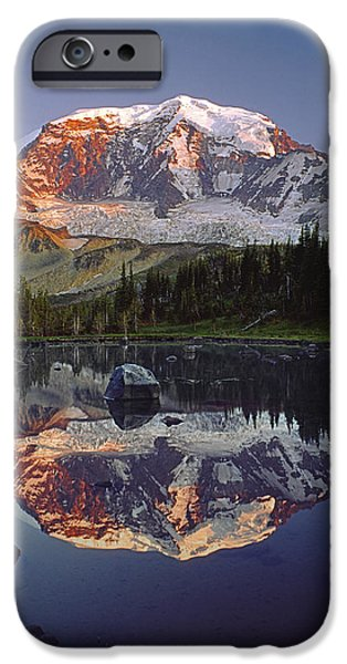 Snow iPhone Cases - Mt Rainier Reflect 2M4858 V iPhone Case by Ed  Cooper Photography