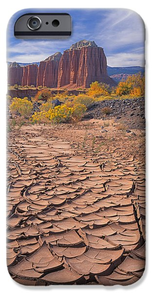 Cathedral Rock iPhone Cases - Mud Cracks Upper Cathedral Valley 212648 iPhone Case by Ed  Cooper Photography