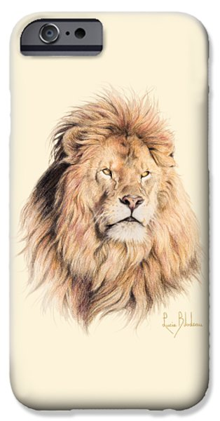 African Animal Drawings iPhone Cases - Mufasa iPhone Case by Lucie Bilodeau
