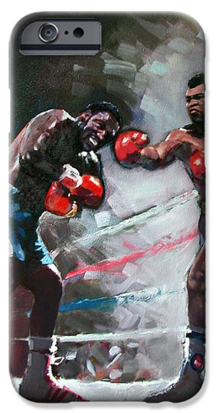 Boxer iPhone Cases - Muhammad Ali and Joe Frazier iPhone Case by Ylli Haruni