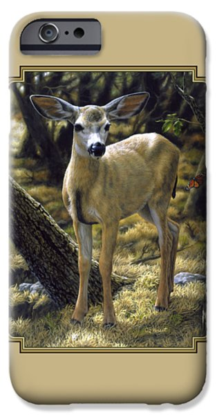 Fawn iPhone Cases - Mule Deer Fawn - Monarch Moment iPhone Case by Crista Forest