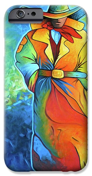 Multi Color Cowboy iPhone Case by Lance Headlee