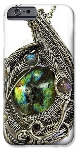 Jordan Jewelry iPhone Cases - Multi-Colored Labradorite Wire-Wrapped Pendant in Antiqued Sterling Silver LABPSS1 iPhone Case by Heather Jordan