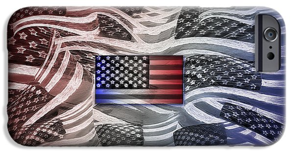 American Flag iPhone Cases - Multi - Flag Abstract 2 iPhone Case by Steve Ohlsen