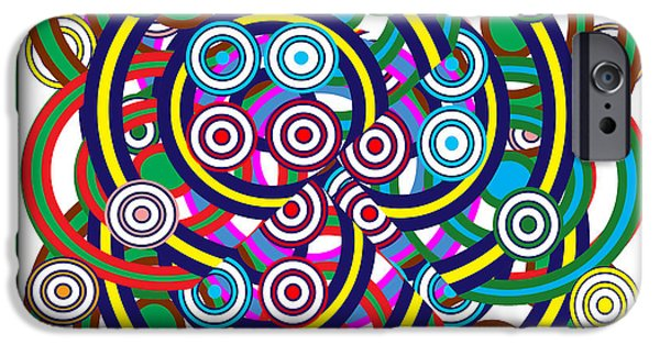 Diy iPhone Cases - Multiple Hula Hoop Circles Colorful Abstract Art iPhone Case by Navin Joshi