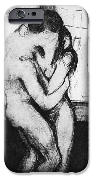 Rear View iPhone Cases - Munch: The Kiss, 1895 iPhone Case by Granger