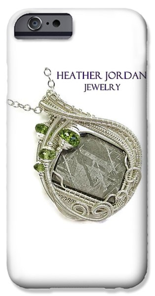 Jordan Jewelry iPhone Cases - Muonionalusta Meteorite Slice and Peridot Pendant in Sterling Silver IMSSS4 iPhone Case by Heather Jordan