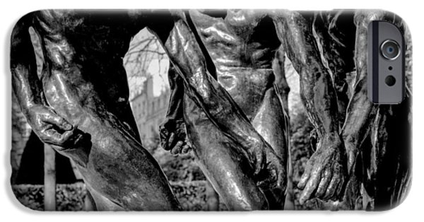Monotone Pyrography iPhone Cases - Museum Rodin. iPhone Case by Cyril Jayant