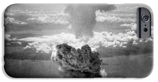 American History iPhone Cases - Mushroom Cloud Over Nagasaki  iPhone Case by War Is Hell Store