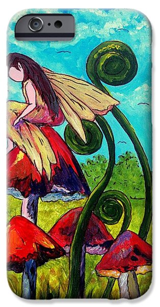 Faries iPhone Cases - Mushroom Fairy 3 iPhone Case by Tami Booher