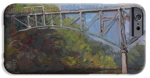Recently Sold -  - River iPhone Cases - Music Man Bridge-Plein air iPhone Case by Sandra Quintus