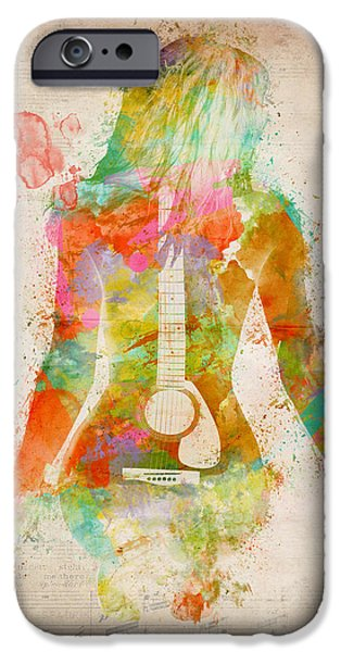 Portrait iPhone Cases - Music Was My First Love iPhone Case by Nikki Marie Smith