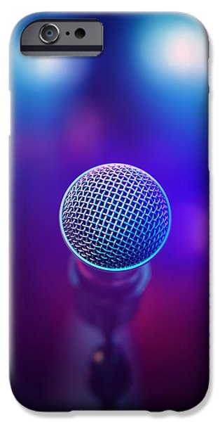 Rear View iPhone Cases - Musical Microphone on stage iPhone Case by Johan Swanepoel